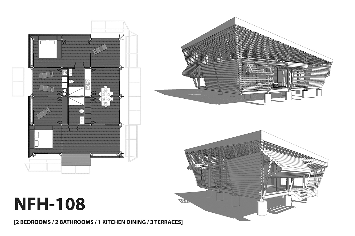 NFH-108 typology (2 bedrooms / 2 bathrooms / 1 kitchen / 3 terraces). A-01}
