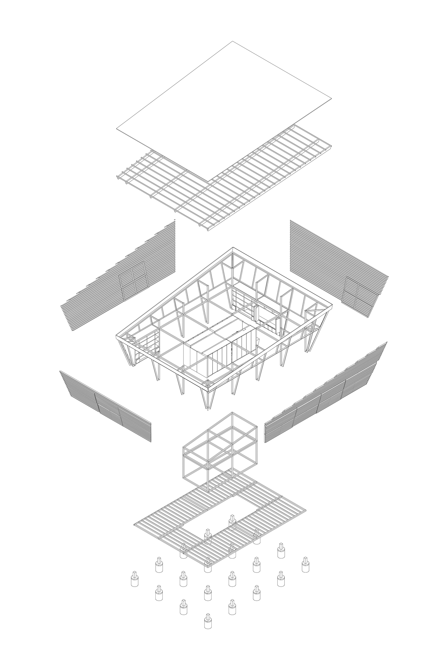 Axonometric drawing of prefabricated components as built. A-01}