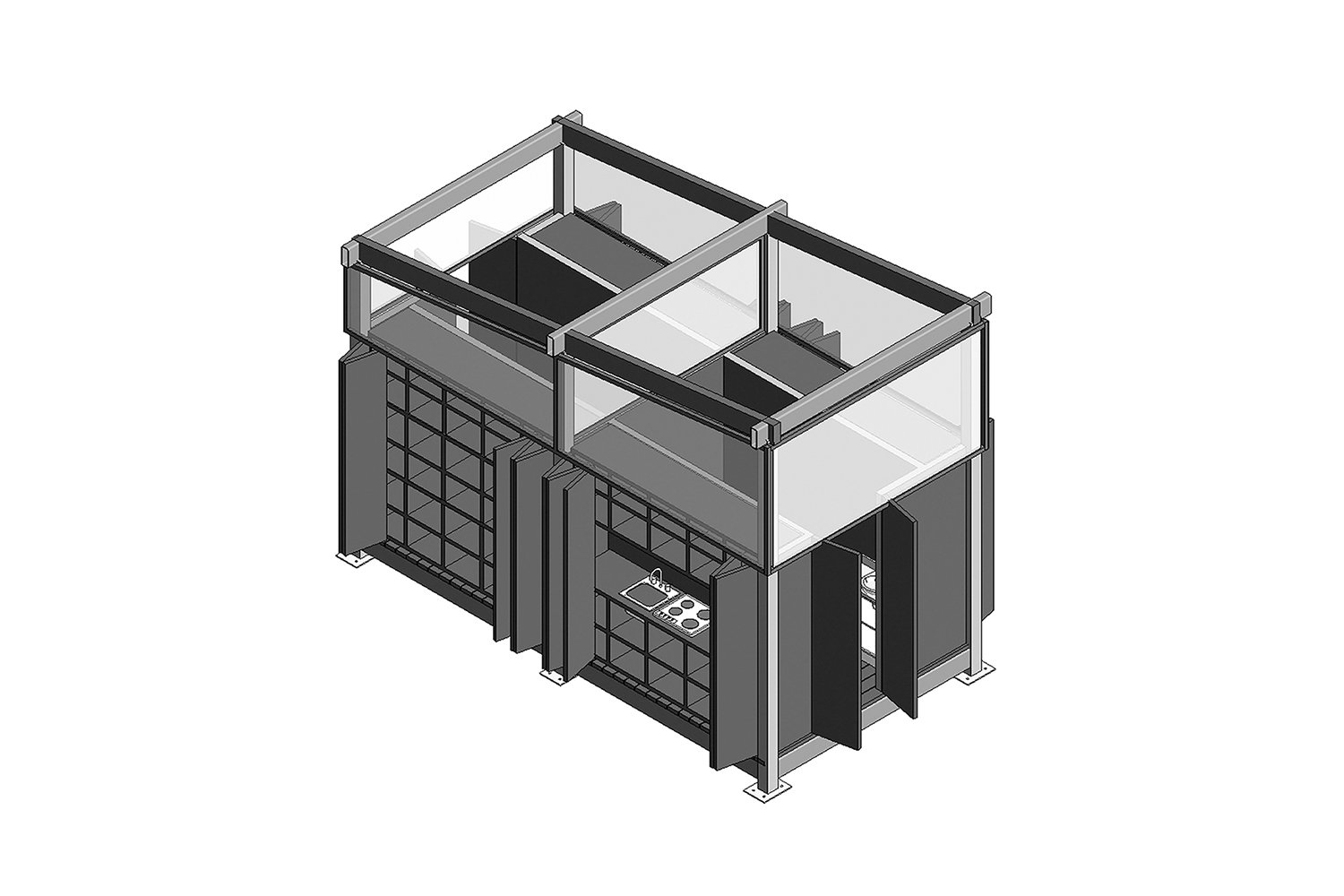 First axonometric drawing of the central service core (kitchen side). A-01}