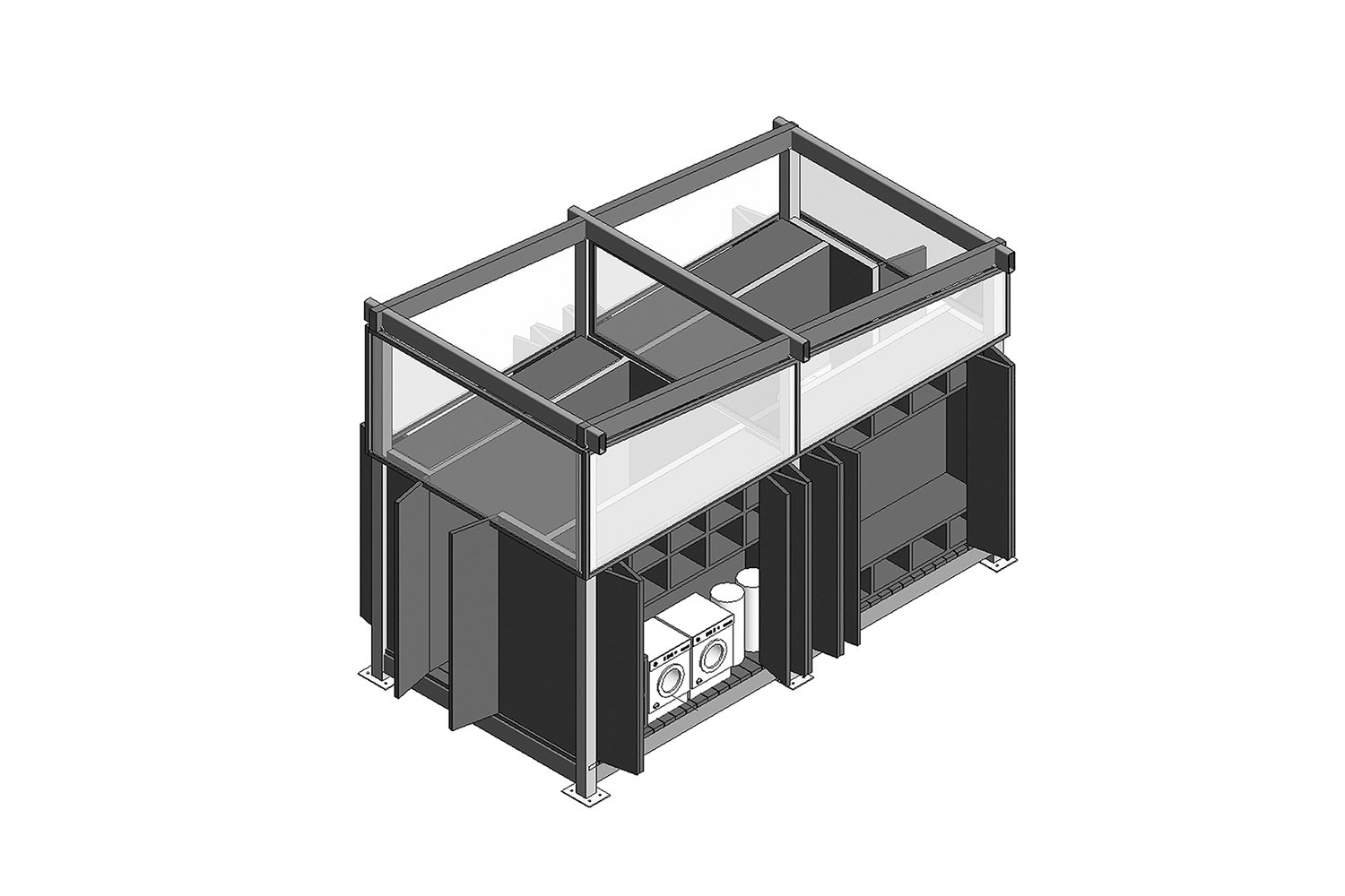 First axonometric drawing of the central service core (laundry side). A-01}