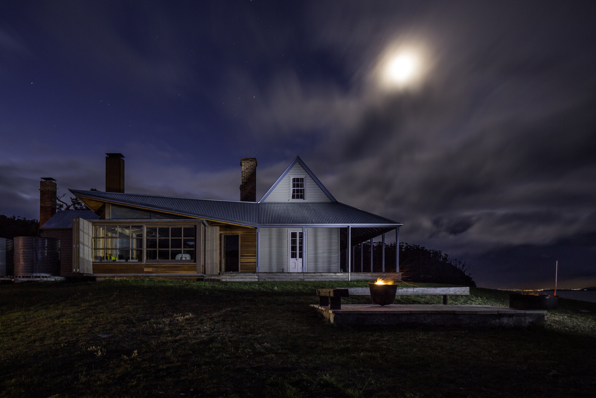 Southern elevation by moonlight Trevor Mein