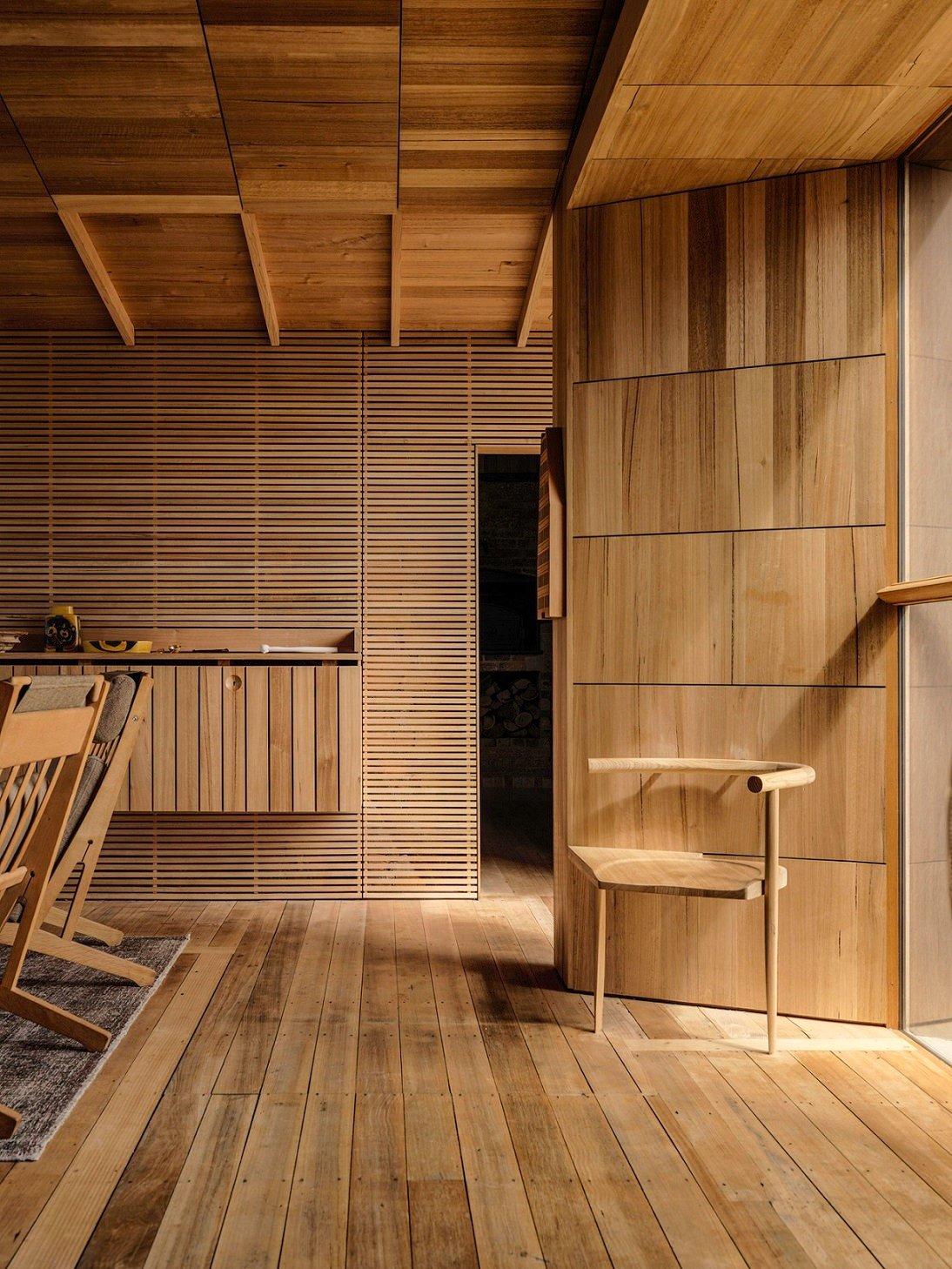 Tasmanian Oak is used for internal walls, linings, floor and ceiling Trevor Mein