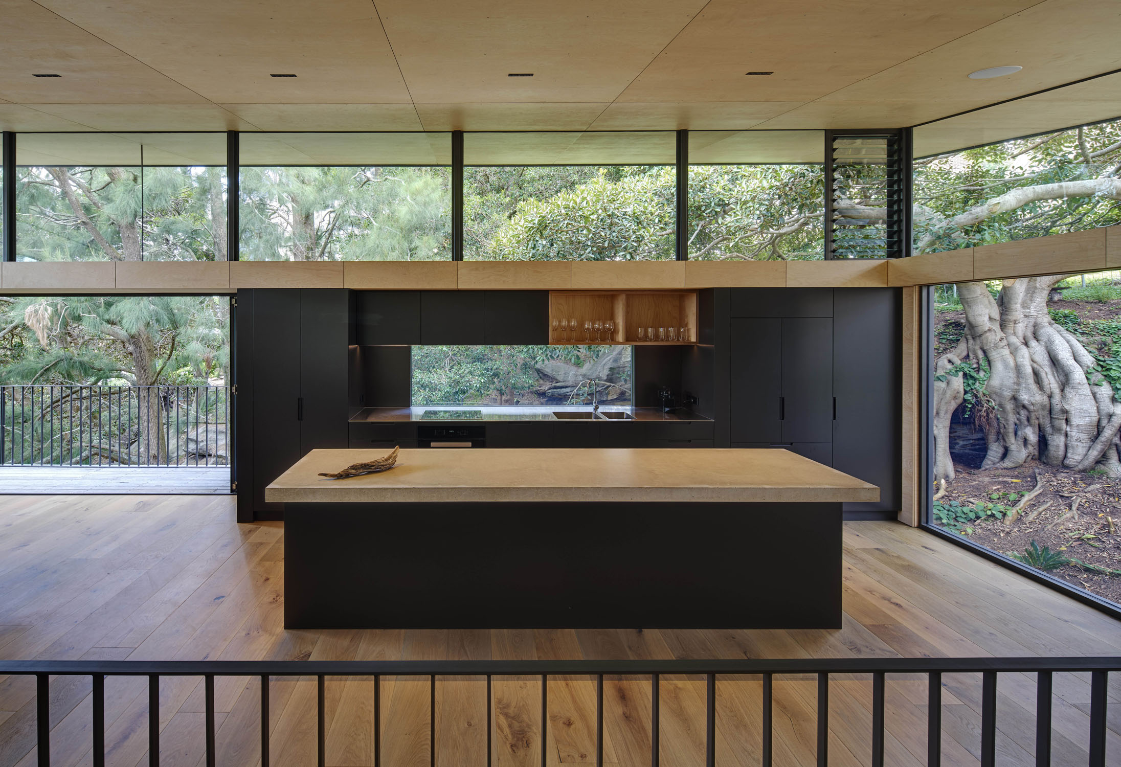 Views through the kitchen to old fig tree and sandstone outcrops Michael Nicholson