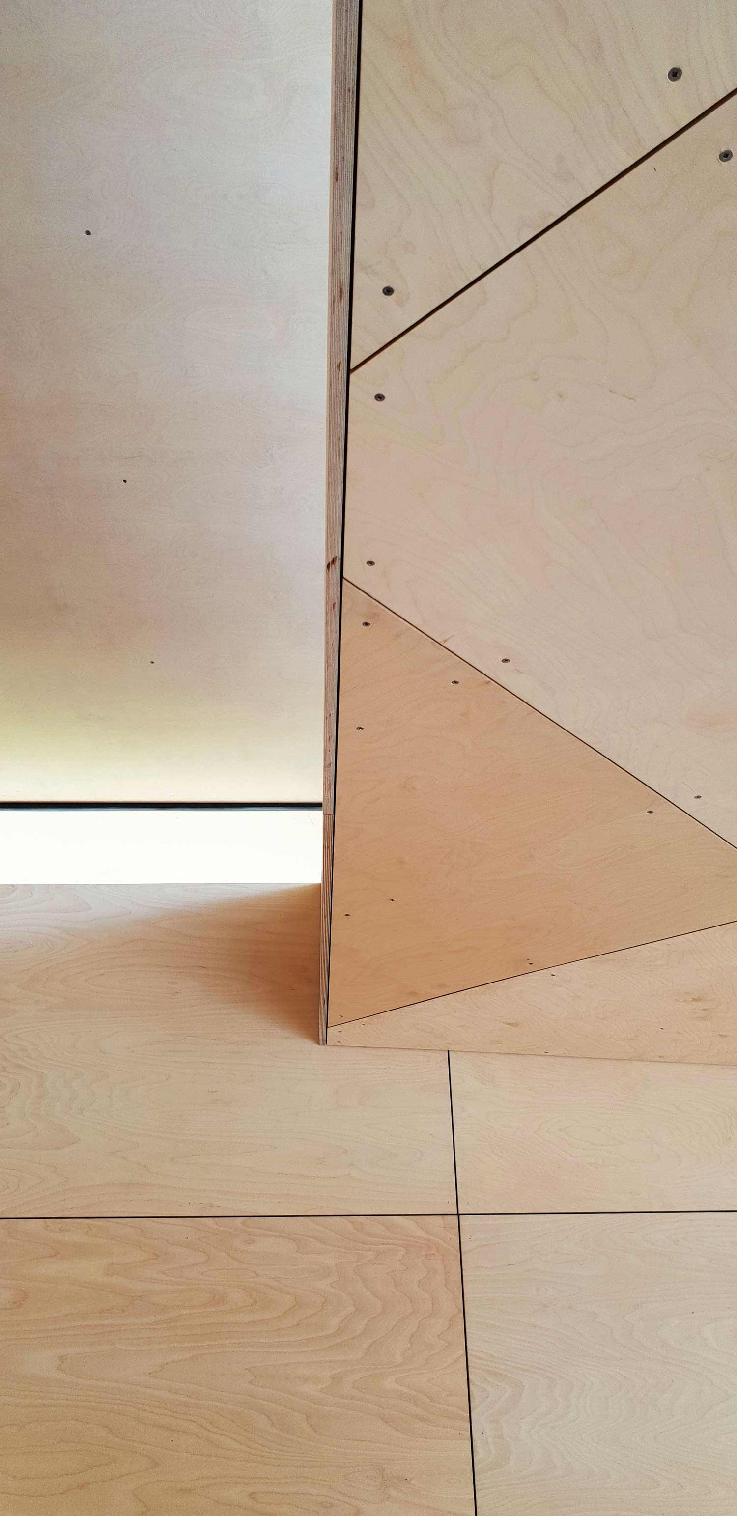 Triangulated ply wood ceiling RAAarchitects}