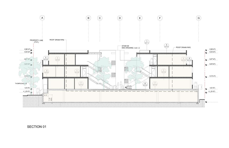 Section through penthouse unit Studio Antares A +E}