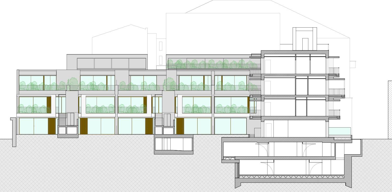 Prospetto fronte interno corpo B DC10 Architects}