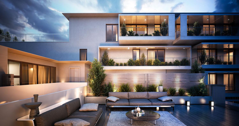 Render terrazzi corpo interno (B) verso edificio su strada (A) DC10 Architects}