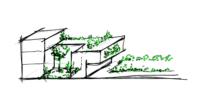 Schizzo progettuale conformazione unità duplex corpo B DC10 Architects}