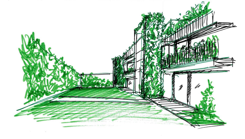 Schizzo progettuale giardini interni DC10 Architects}