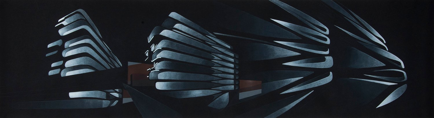 Facade Articulation Study (painting using multiple perspectives) Zaha Hadid Foundation}