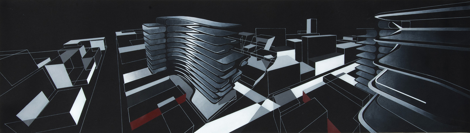 Formal Composition Study (painting using multiple perspectives) Zaha Hadid Foundation}