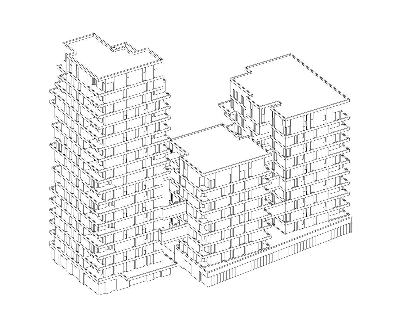 PETITDIDIERPRIOUX Architectes - 152 Housing units in Villeurbanne - Axonometry PETITDIDIERPRIOUX Architectes}