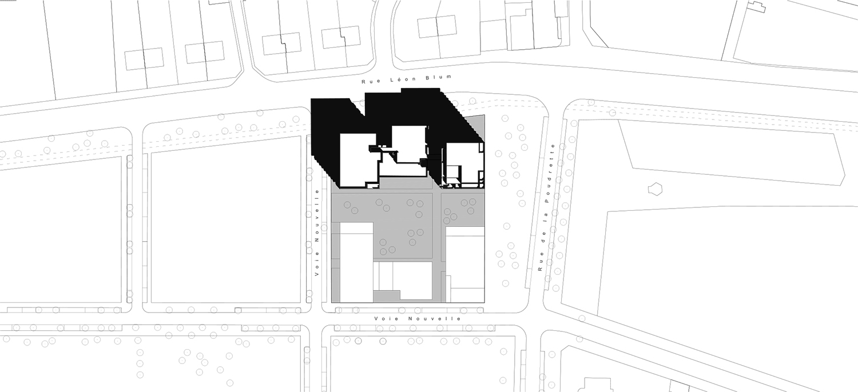 PETITDIDIERPRIOUX Architectes - 152 Housing units in Villeurbanne - Mass plan PETITDIDIERPRIOUX Architectes}