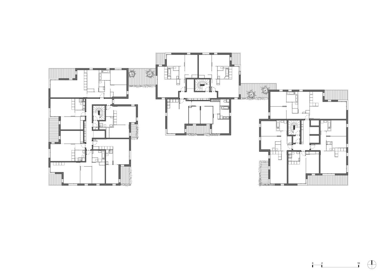 PETITDIDIERPRIOUX Architectes - 152 Housing units in Villeurbanne - Second floor plan PETITDIDIERPRIOUX Architectes}