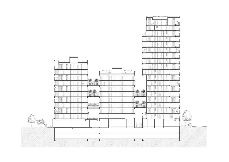 PETITDIDIERPRIOUX Architectes - 152 Housing units in Villeurbanne - Long section PETITDIDIERPRIOUX Architectes}