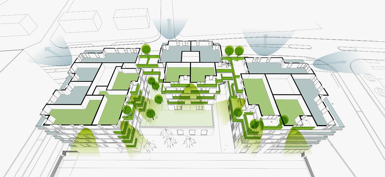 PETITDIDIERPRIOUX Architectes - 152 Housing units in Villeurbanne - Orientations PETITDIDIERPRIOUX Architectes}