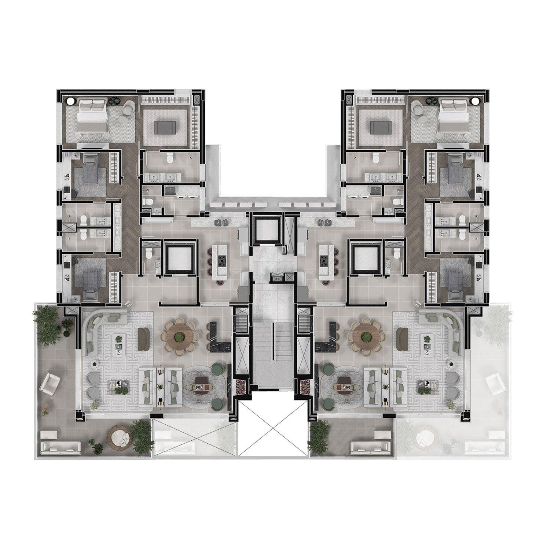 floor plant oficina 3d
