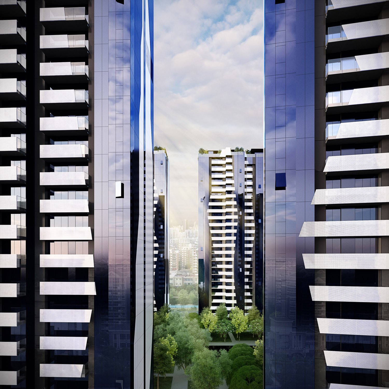 view between buildings Peia Associati