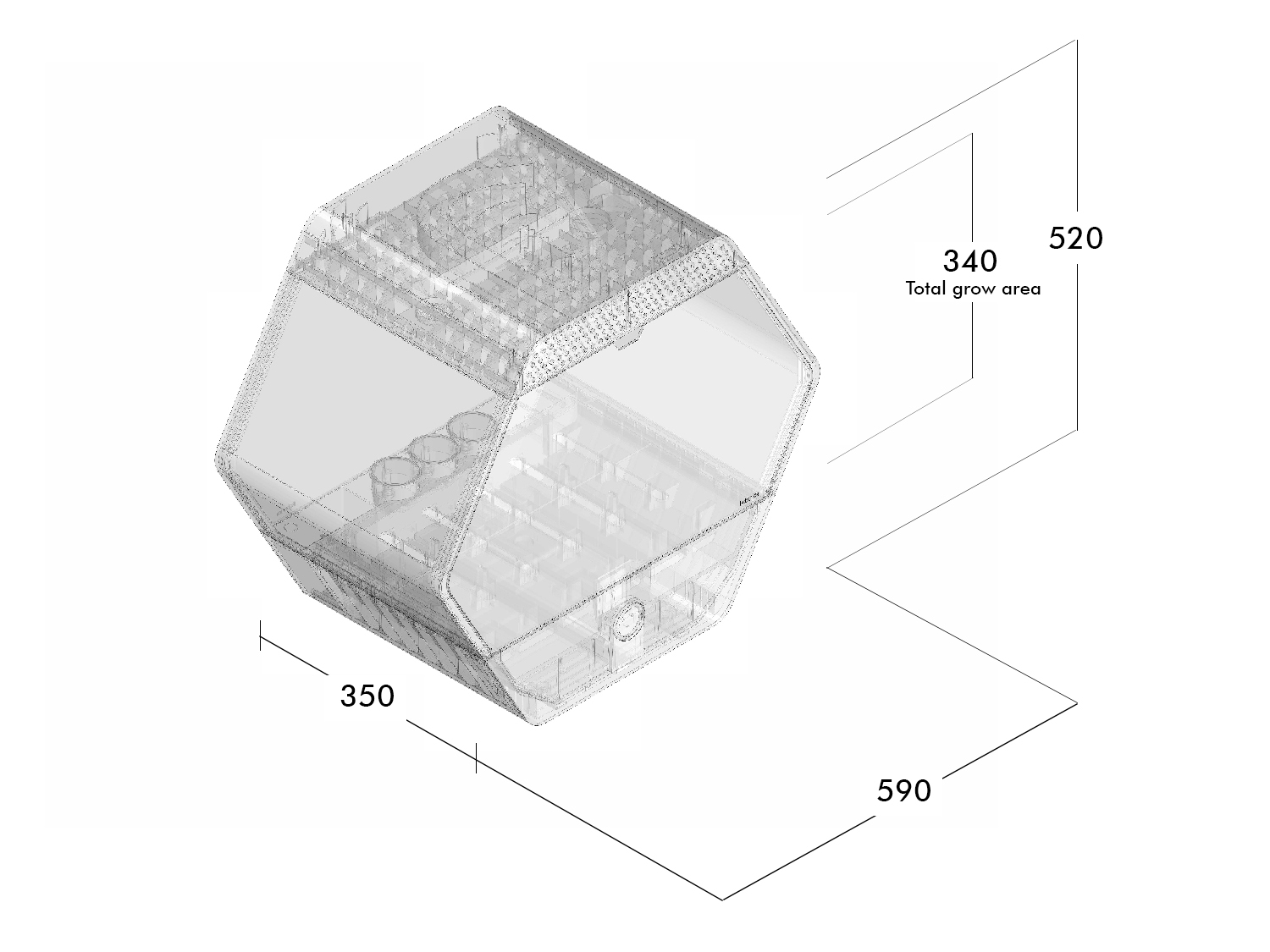 Wireframe Axonometric view Robonica}
