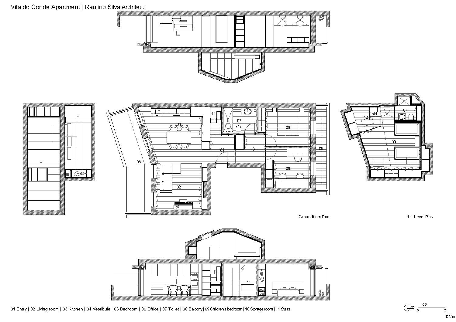 Plans ans sections Raulino Silva Architect}