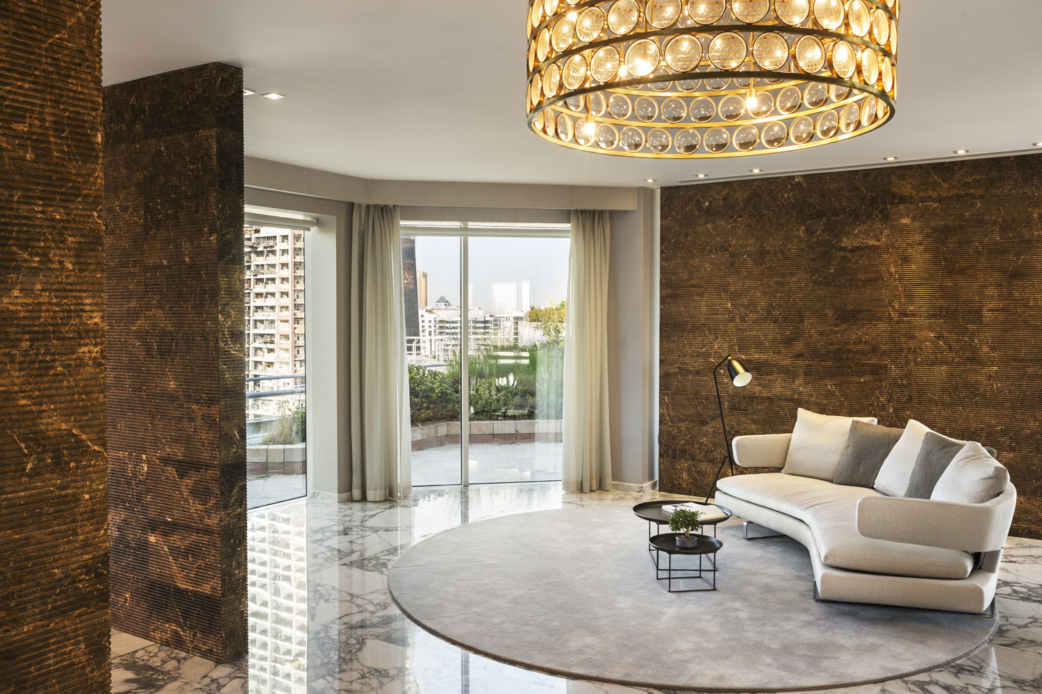 The refurbishing of a Dubai penthouse has created an ultimately representative, elegantly comfortable, and luxurious residential space. The irregular plant of the Penthouse is surrounded on different sides Mohamed Somji
