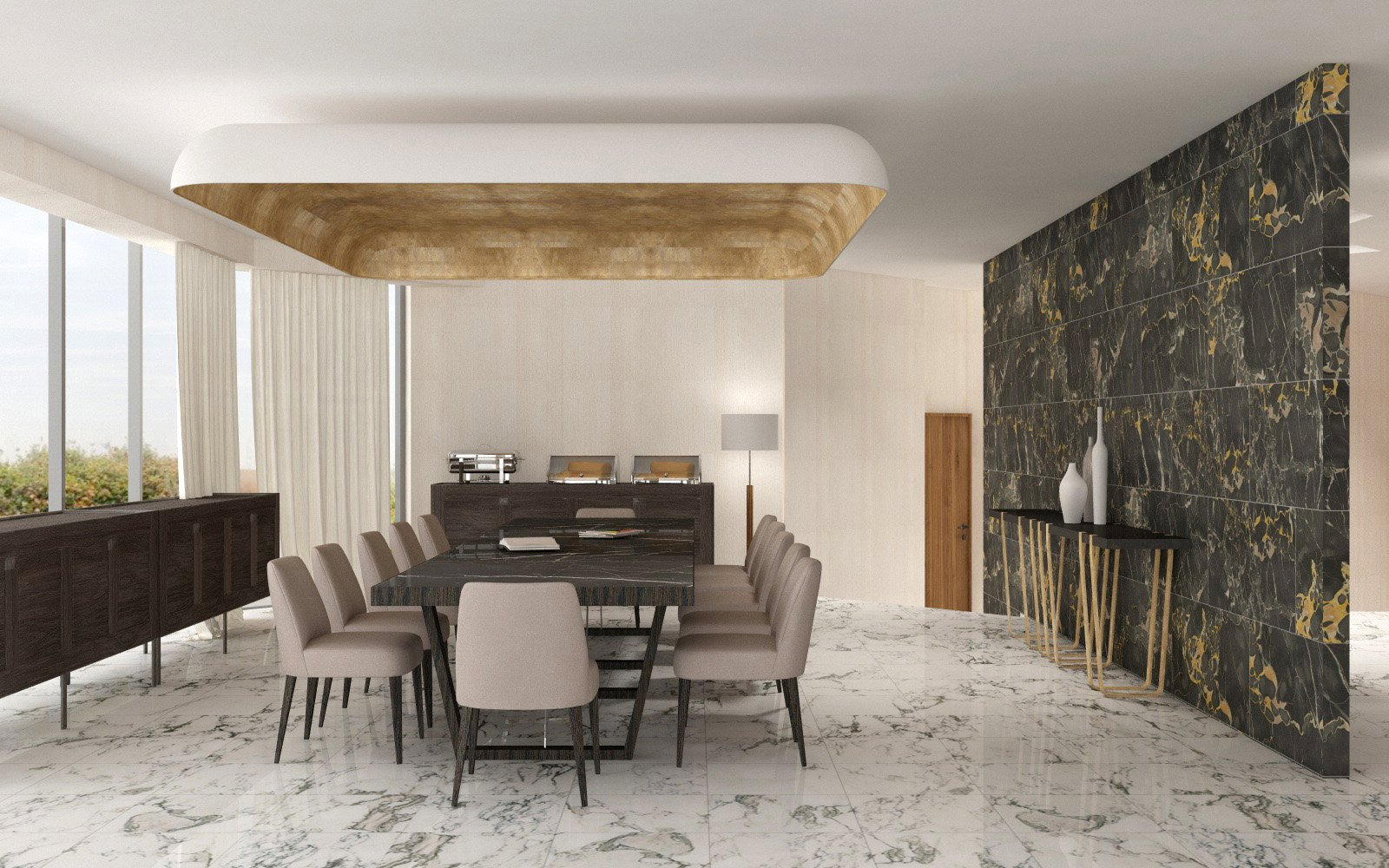 Dining room with custom furnishings and ceiling special feature duccio grassi architects}