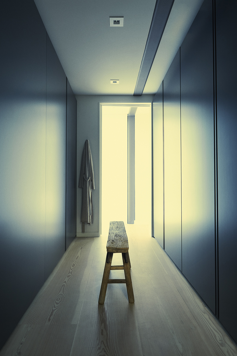 Light streams into the master suite's dressing room through glass panes by Western Window Systems. Miller Mobley