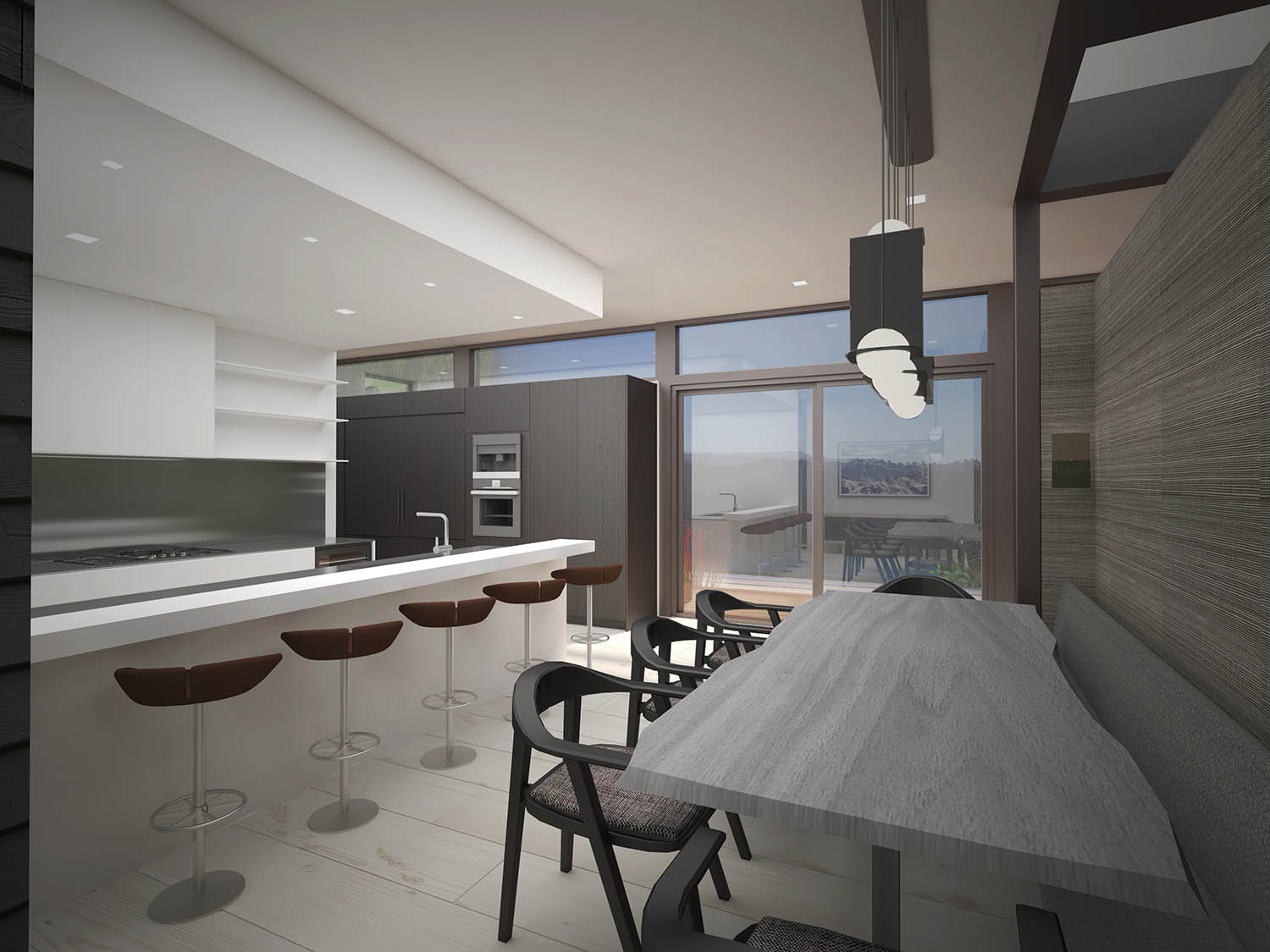 Kitchen and dining area render. Reddymade}