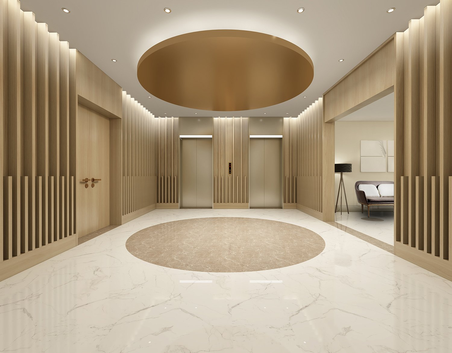 the elevator hall WS Architects