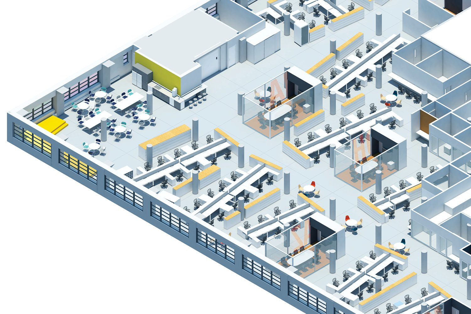 Lunch area axonometric SM+H Architects LLP}