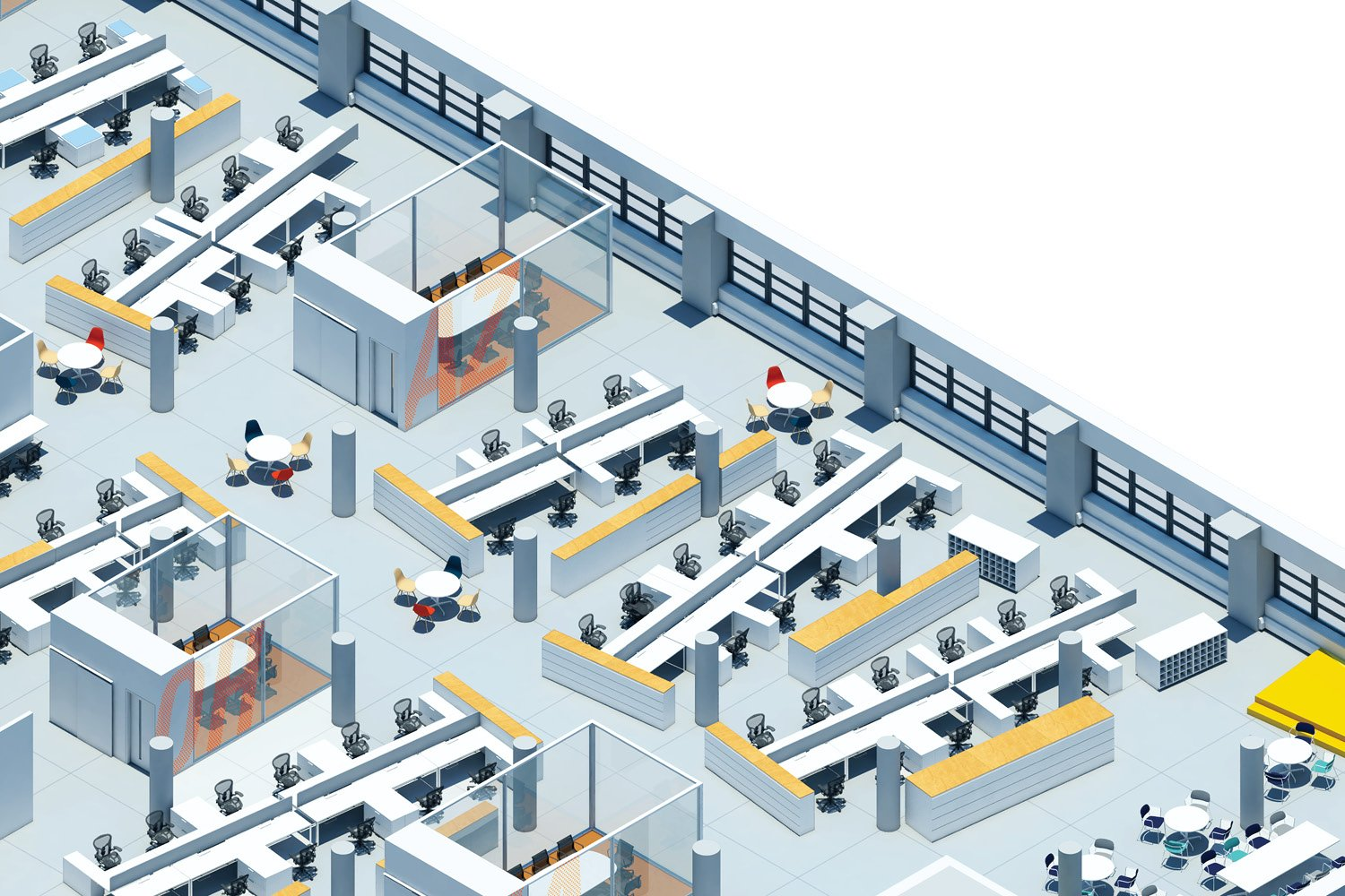 Open office and conference room field SM+H Architects LLP}