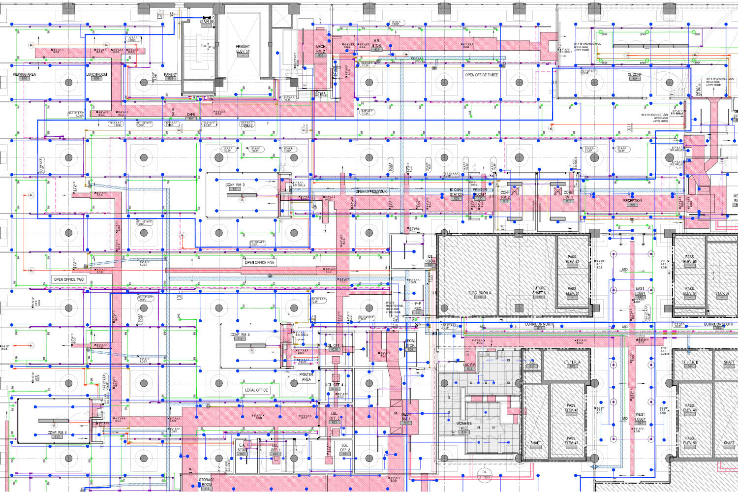 Reflected ceiling plan coordination drawing SM+H Architects LLP}