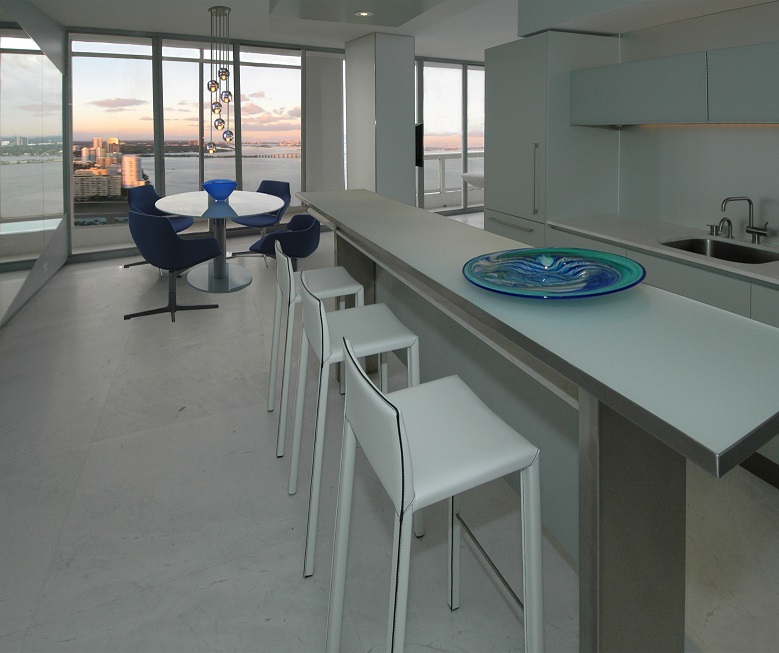 Miami Penthouse Kitchen From the Entry Hall Dan Zaharia