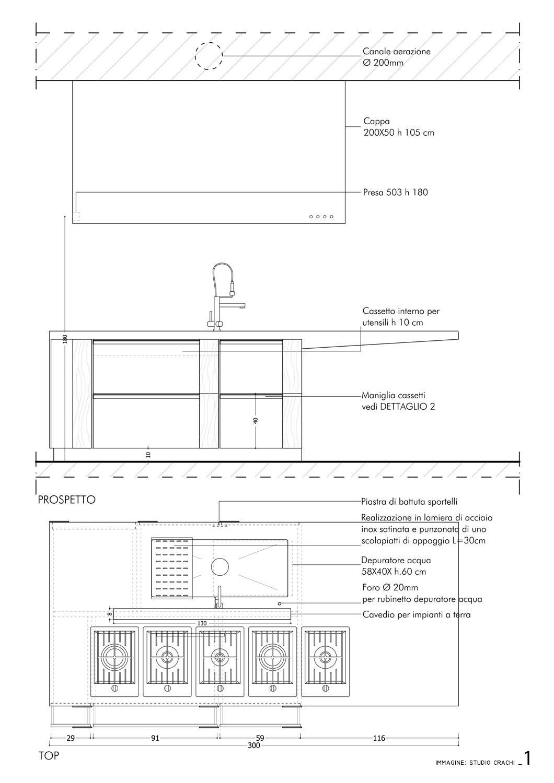 Progetto esecutivo isola- pianta e prospetto fronte Studio Crachi