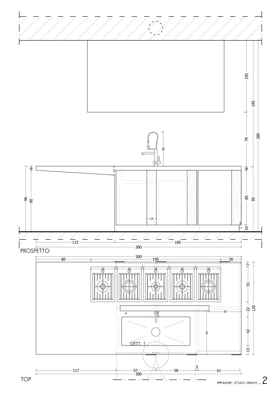 Progetto esecutivo isola- pianta e prospetto retro Studio Crachi