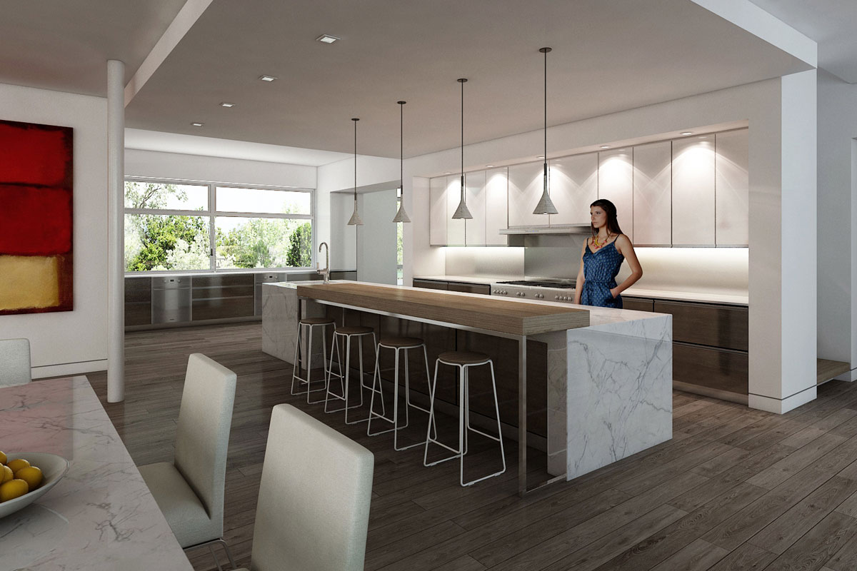 Rendering of the Bentleyville Residence kitchen Dimit Architects, LLC