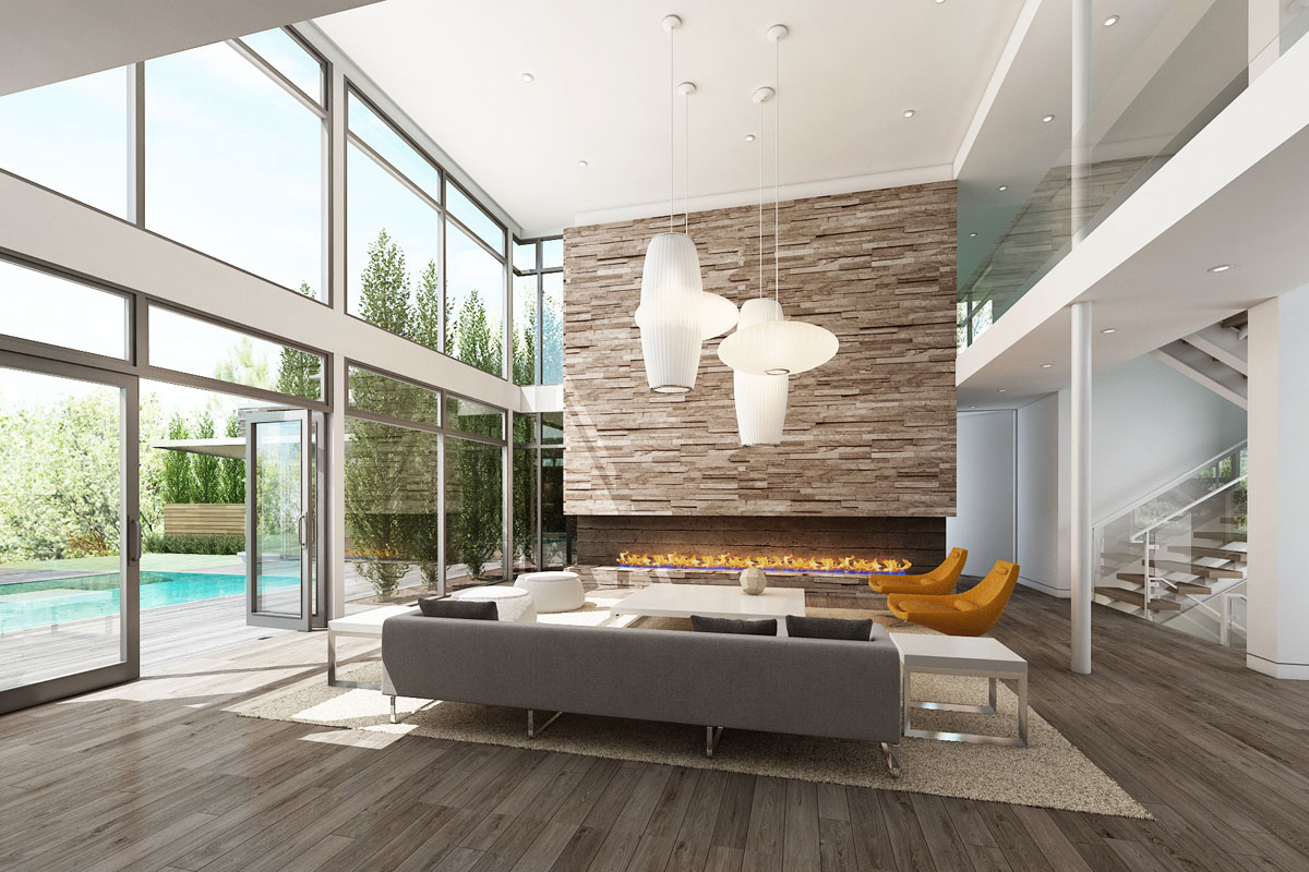 Rendering of the Bentleyville Residence living area Dimit Architects, LLC