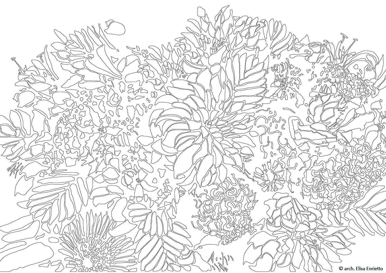 Il disegno ricalca nelle linee la sagoma dei fiori utilizzata per i pannelli scorrevoli in MDF della cucina arch. Elisa Enrietto