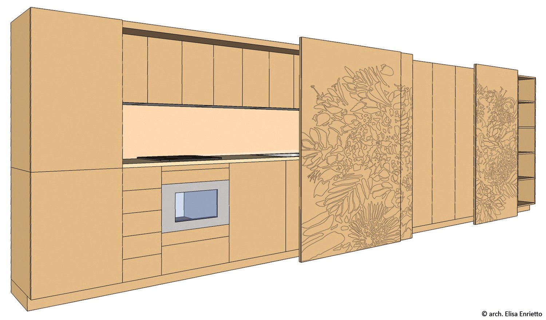 Modello 3d cucina a scomparsa arch. Elisa Enrietto
