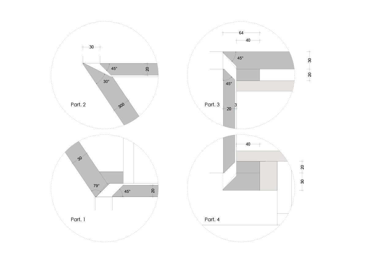 Dettagli costruttivi, particolare della realizzazione della piega 3ndy Studio