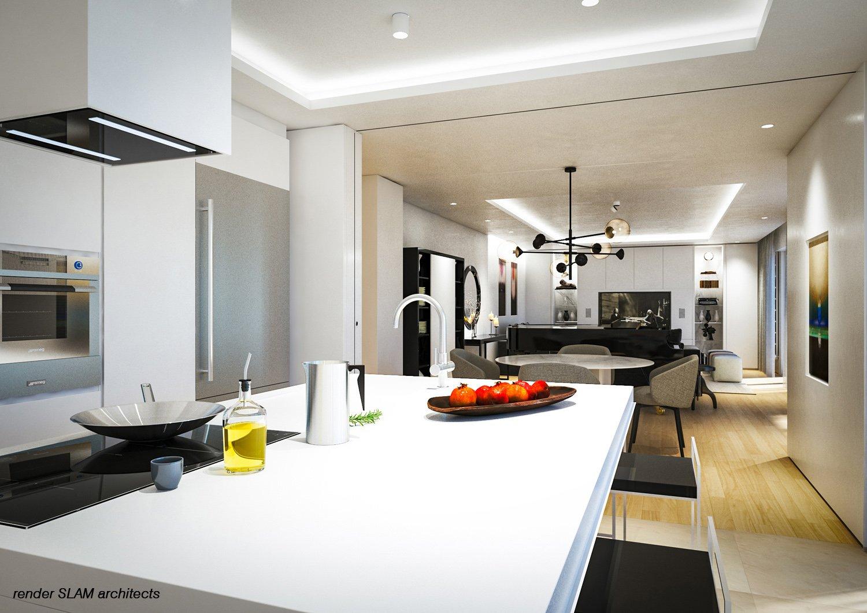 Render del soggiorno dalla cucina Andrea Pietro Mori
