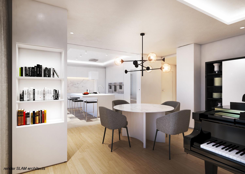 Render della cucina dal soggiorno Andrea Pietro Mori
