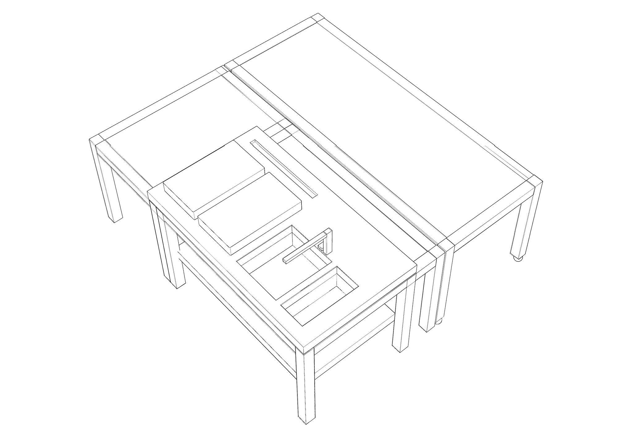 schema tridimensionale dell'isola simone subissati architects