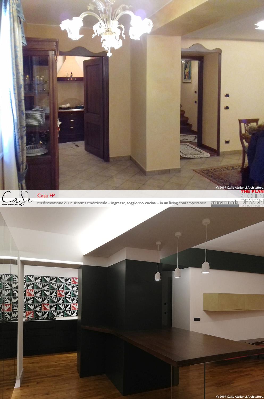 Vista dall'ingresso prima e dopo l'intervento Ca.Se Atelier di Architettura