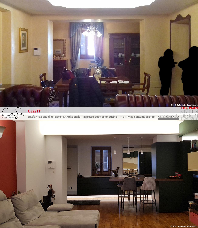 Vista dal soggiorno prima e dopo l'intervento Ca.Se Atelier di Architettura