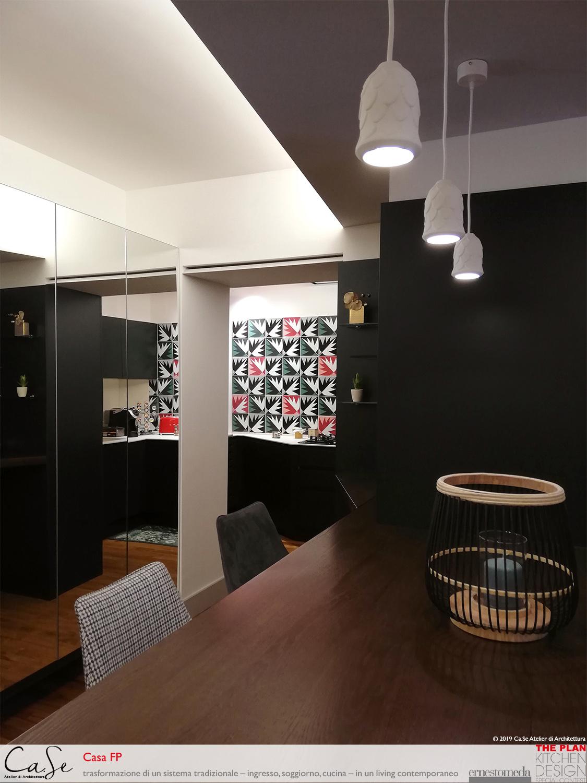 Vista di dettaglio - illuminazione e armadiature specchiate Ca.Se Atelier di Architettura