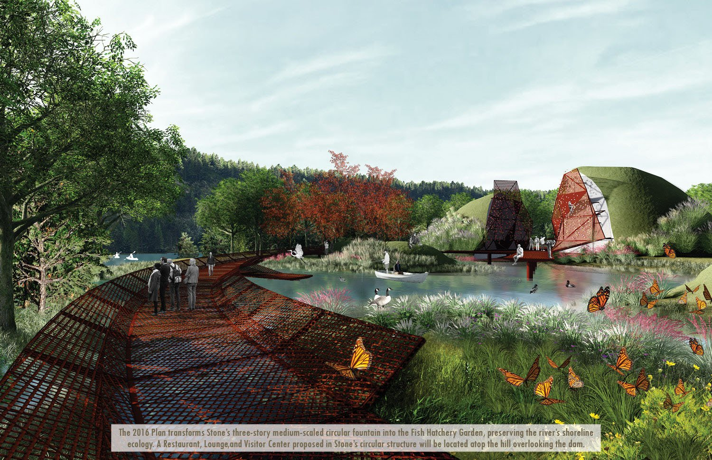 The 2016 Plan transforms Stone's three-story medium-scaled circular fountain into the Fish Hatchery Garden, preserving the river's shoreline ecology. University of Arkansas Community Design Center