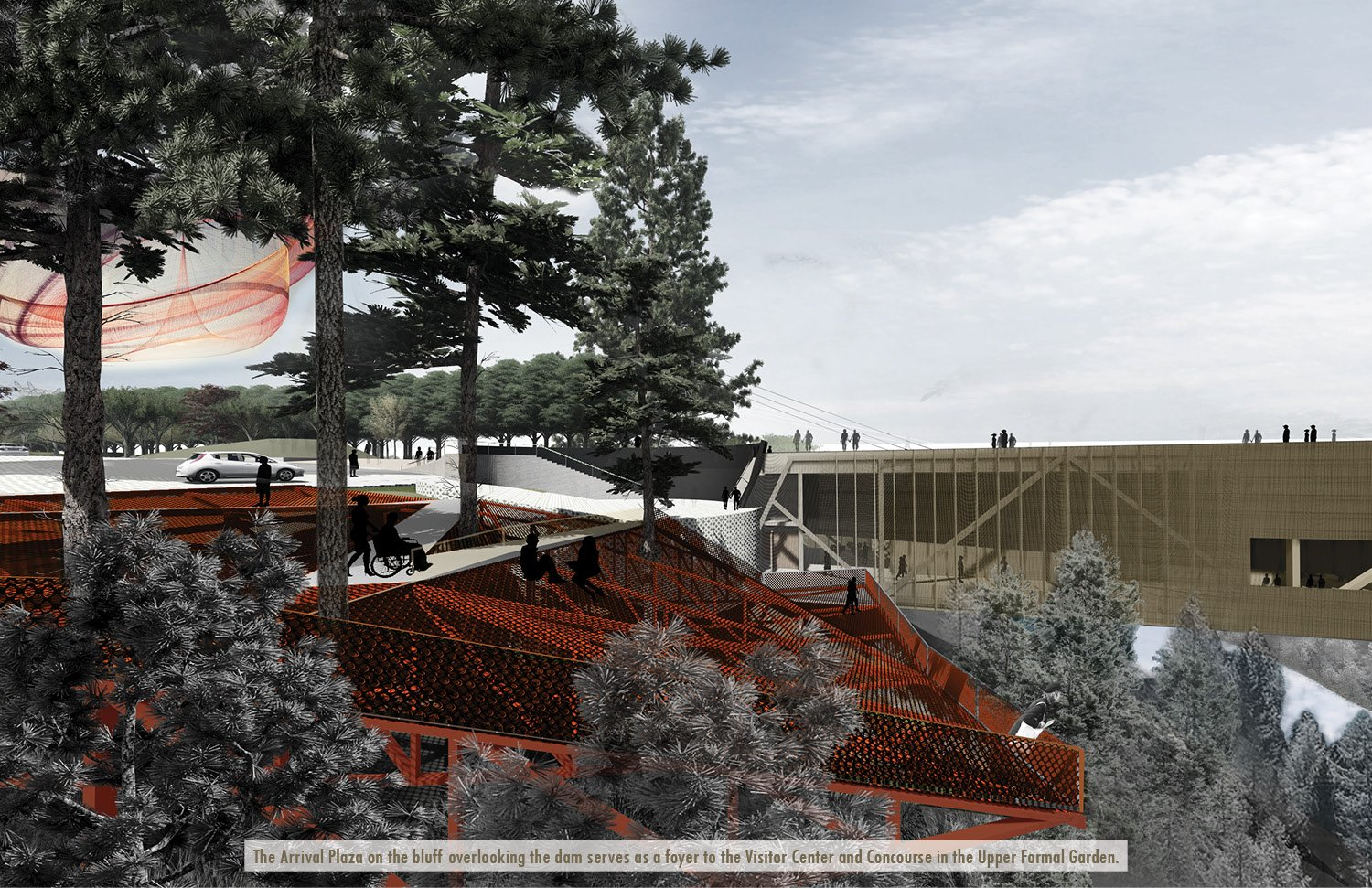 The Arrival Plaza on the bluff overlooking the dam serves as a foyer to the Visitor Center and Concourse in the Upper Formal Garden. University of Arkansas Community Design Center