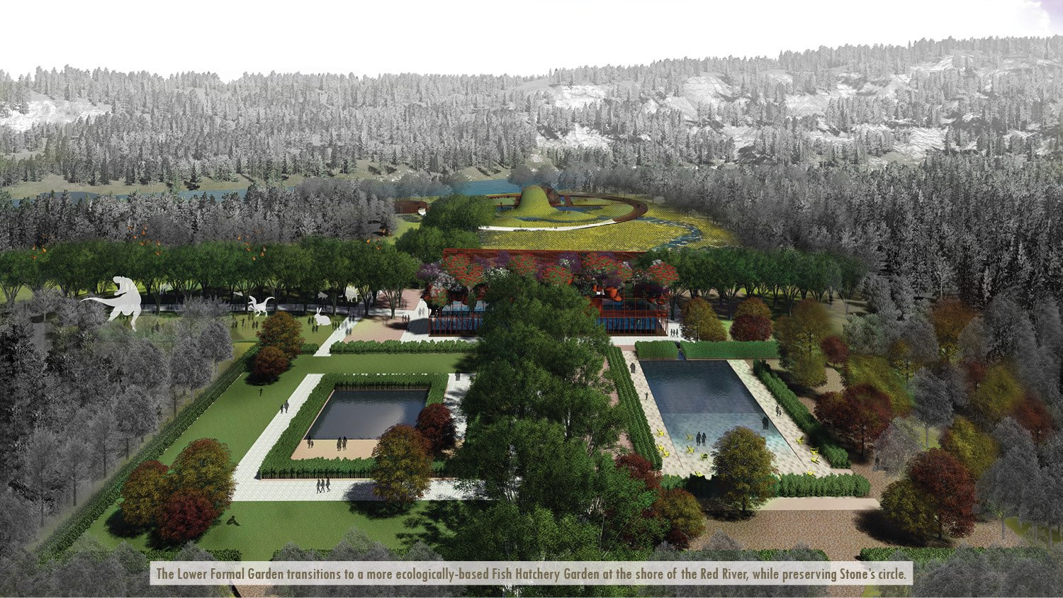 The Lower Formal Garden transitions to a more ecologically-based Fish Hatchery Garden at the shore of the Red River, while preserving Stone's circle. University of Arkansas Community Design Center