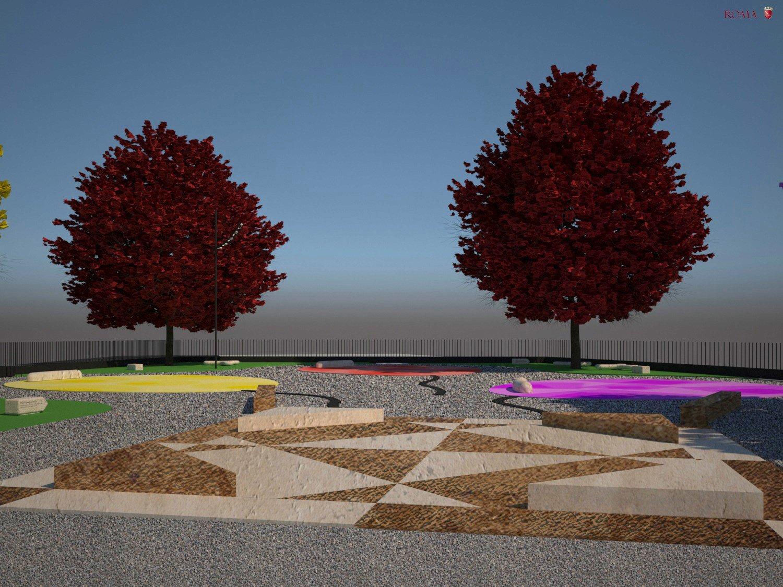 """Daytime view of the """"game box"""" square Roma Capitale - Tommaso Di Pierro}"""